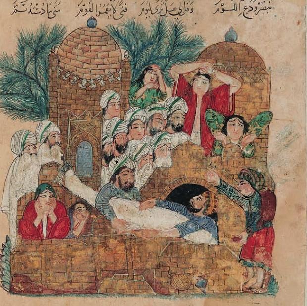 1400-luvun miniatyyrimaalaus kuvaa arabialaista hautajaiskulkuetta ja käärinliinoihin käärittyä vainajaa.