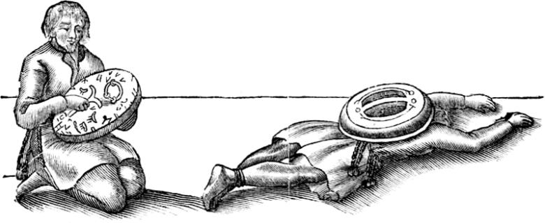 Saamelainen shamaani. Piirros vuodelta 1673.