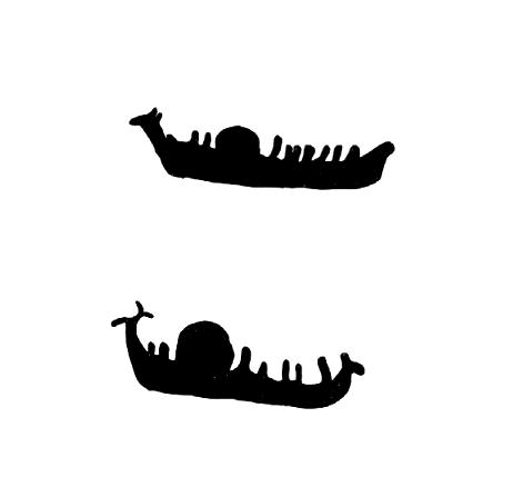Altan kalliopiirroksissa esiintyy myös veneitä, joissa kuljetetaan jotakin ylimääräistä lastia. Kuva: Klem 2010: 58.