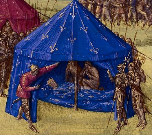 Ranskan kuningas Ludvig IX:n kuolema 25.8.1270. Maalaus 1400-luvun kronikassa.