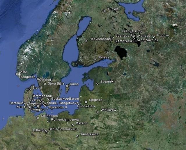 Mesoliittisia kalmistoja ja hautakohteita Itämeren ympäristössä. Monissa näistä paikoista on tulkittu olleen myös shamaanien hautoja. Kuva: