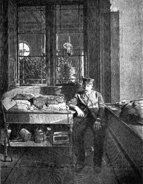 Müncheniläisen odotusruumishuoneen vartija, jonka tehtävänä on kuunnella mahdollista kellon kilahdusta. Kuva: Tebb et al. 1905: 347.
