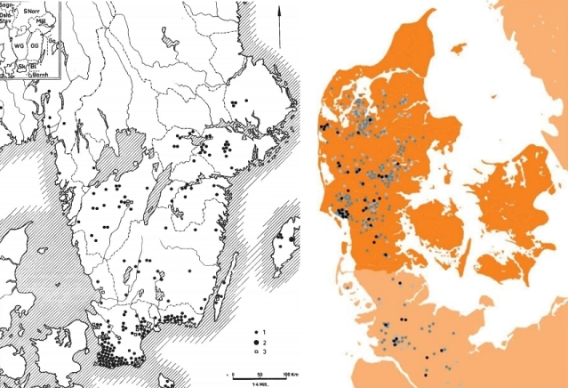 Oikealla: Yksittäishautakulttuurin hautojen levinneisyys ja kehitys Jyllannissa 2850–2600 BC. Musta - Vaihe 1, tummansininen - Vaihe 2 ja vaaleansininen - Vaihe 3. Kuva: Tanskan kansallismuseon verkkosivut (Natmusdk 2017).