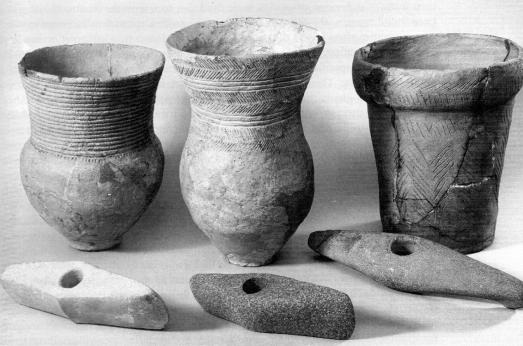 Vasemmalta oikealle varhais-, keski- ja myöhäisnuorakeraamiset (3000–2400 BC) juoma-astiat ja alla vastaavan ikäiset taistelukirveet. Kaikki esineet ovat Tanskalaisia, mutta vastaavia on löydetty hauta-anteina Tanskasta Moskovaan. Kuva: Sherratt (2001a:191).