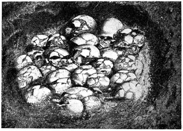 Ofnetin luolan suurempi kalloja sisältänyt kuoppa. Kuva: Wikimedia Commons.