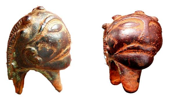 Iso-Britanniasta löytynyt La Tene III -tyypin (n. 100 eaa. - 100 jaa.) miekan ponsi kuvaa ihmispäätä. Vastaavia on löytynyt mm. Ranskasta, Saksasta, Tšekistä ja Irlannista. Kuva: ukdfd.co.uk