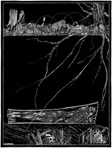 Harry Clarken vuonna 1919 piirtämää kuvitusta Edgar Allan Poen novelliin The Premature Burial.