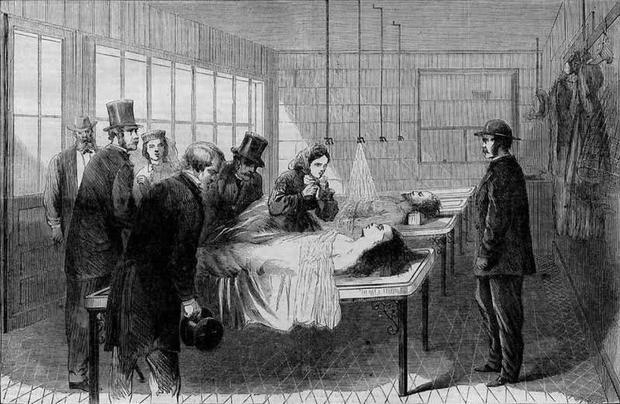 New Yorkin ensimmäinen ruumishuone, joka avattiin 1866 Bellevuen sairaalan yhteyteen.