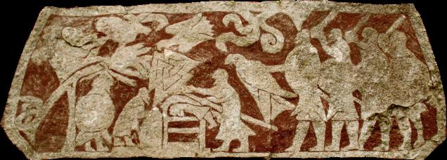 Viikinkiaikaisen kuvakiven yksi kohtaus esittää uhritoimitusta, jota on myös arveltu Odinille suoritetuksi ihmisuhraukseksi. Stora Hammar, Gotlanti. Kuva: Wikimedia Commons.