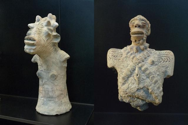 Noin neljäsosa sao-kansan valmistamista savifiguriineista on peräisin hautauksista. Etenkin lasten haudoista löytyneitä figuriineja on pidetty usein leluina. Kuvissa antropomorfisia figuriineja. (Wikimedia Commons)