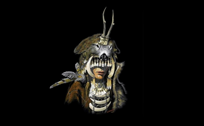 Taiteilijan näkemys kivikautisesta shamaanista. Kuva: M. Dashu.