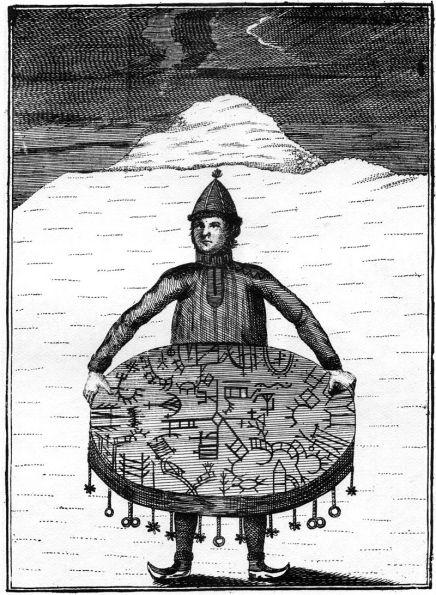 Saamelaista shamaania ja noitarumpua kuvaava kaiverrus vuodelta 1767.