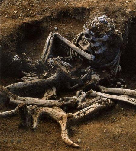 Skateholm II -kalmiston hauta XXII kuului noin 30-40-vuotiaalle naiselle, joka on haudattu istuvaan asentoon saksanhirven sarvien päälle. Kuva: Lars Larsson.