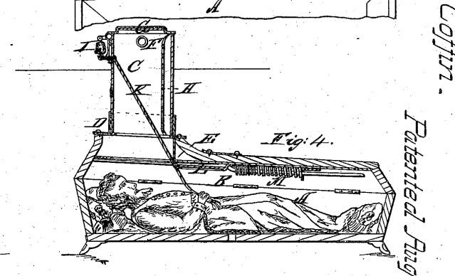 Vesterin patentoima turva-arkku, jossa heräämisestä voi ilmoittaa kellon soitolla.