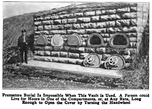 Noin 1890 rakennettu hautakammio, jonka tarkoituksena on estää ennenaikainen hautaaminen. Luukut saa auki sisäpuolelta ratasta pyörittämällä. Kuva: Popular Mechanics Magazine 1921.