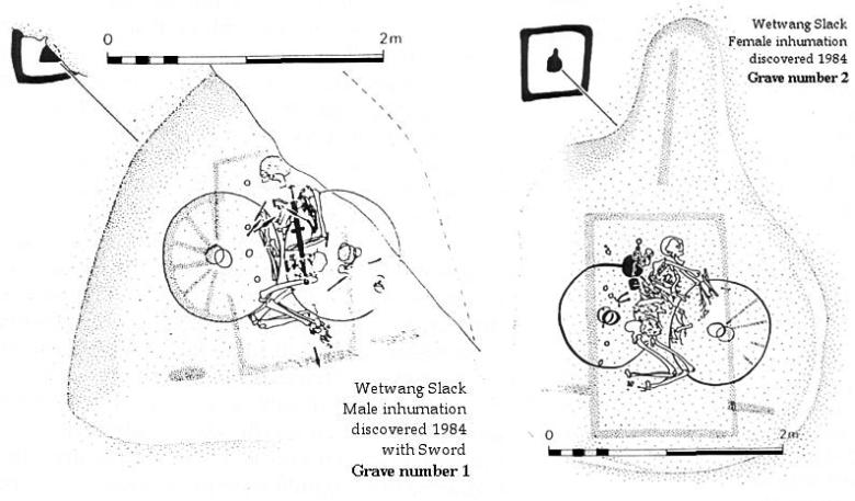 Miehen ja naisen vaunuhautaus. Wetwang Slack, Englanti. Kuvat: Dent 1985.