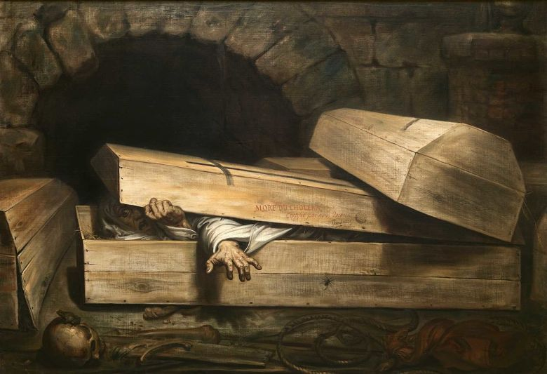 The recovery of supposedly dead victims of cholera, as depicted in The Premature Burial by Antoine Wiertz, fuelled the demand for safety coffins.