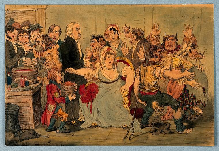 Satiirikuva Jennerin isorokkorokotuksesta. Kuva Wellcome Collection